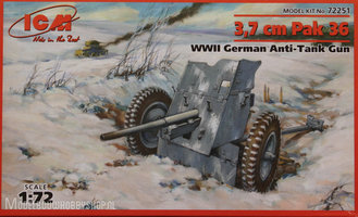 ICM	3,7cm Pak 36 WWII German Anti-tank Gun	 1:72