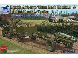 Bronco British Airborne 75mm Pack Howitzer&1/4 Ton Truck/wTrailer  1:35