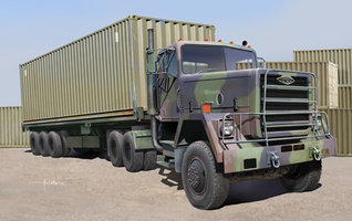 Trumpeter M915 Tractor with M872 Flatbed Trailer and 40 feet container