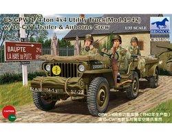 Bronco US GPW 1/4 Ton Utility Truck w/10-CWT Trailer&Airborne Crew 1:35
