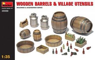 Miniart Wooden Barrels And Village Utensils  1:35
